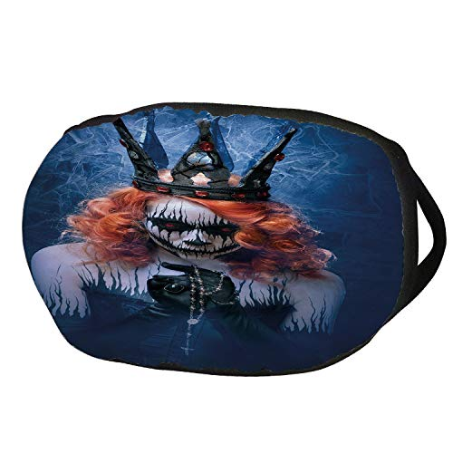 Fashion Cotton Antidust Face Mouth Mask,Queen,Queen of Death Scary Body Art Halloween Evil Face Bizarre Make Up Zombie,Navy Blue Orange Black,for women & men ()