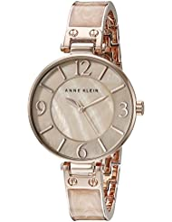 Anne Klein Womens AK/2210BMRG Rose Gold-Tone and Pink Marbleized Bangle Watch