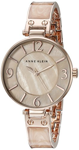 Anne klein women 39 s ak 2210bmrg rose gold tone and pink marbleized bangle watch ebay for Anne klein rose gold watch set