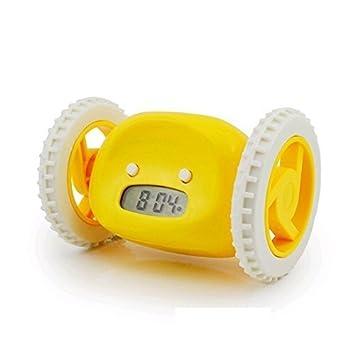 RIGHTWELL Despertador Reloj con Alarma Sobre Ruedas-Despertador LED con Información de Fecha(Amarillo)