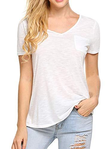 - UNibelle Women Comfy Loose Fit Short Sleeve V Neck Lightweight Cotton T Shirt Top Tee with Pocket (White, Medium)