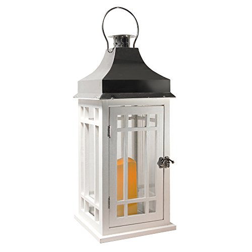 LumaBase 95001 Wooden Lantern with LED Candle, White/Silver