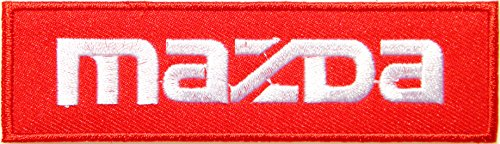 MAZDA Logo Sign Car Truck Racing Patch Iron on Applique Embroidered T shirt Jacket Costume BY SURAPAN (white on (Truck Applique T-shirt)