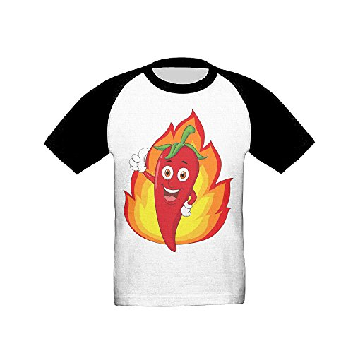 Saroyo Red Chili Cartoon With Flame Baby Raglan T-Shirts 100% Cotton Baseball Short Sleeve Tee 4 Toddler