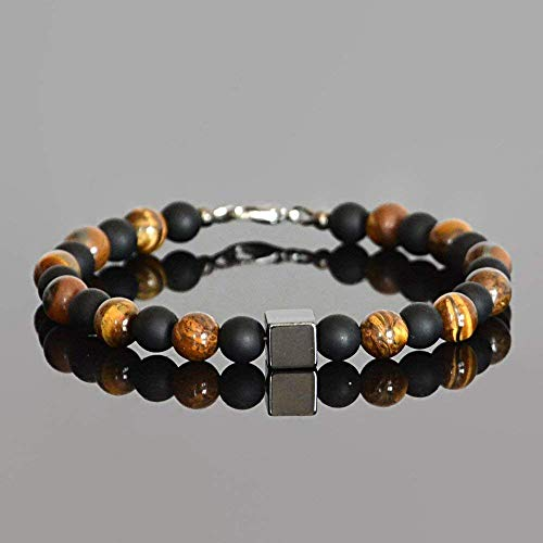 Hematite Tigers Eye Black Onyx Natural Gemstone Boho Beaded Healing Crystal Bracelet for ()