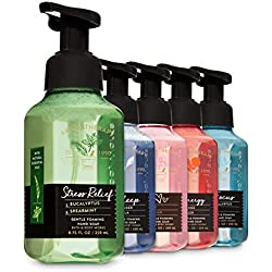Bath and Body Works Aromatherapy Foaming Hand Soaps - Stress Relief Eucalyptus Spearmint + Sleep Lavender Vanilla + Energy Orange Ginger + Eucalyptus Tea + Rose Vanilla - Set of 5 Gentle Foaming Soaps