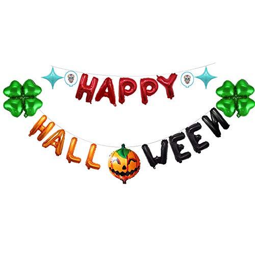 JH&MM Happy Halloween Decoration Balloon Pumpkin Clover Letter Aluminum Bubble Balloon Halloween Decoration Party,Green -