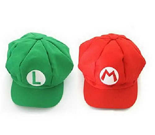 2PCS New Version Super Mario Bros Unisex Hat Cap Mario Luigi Hat Red Green ()