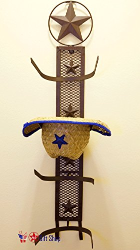 BestGiftEver Metal Star 4 Cowboy Hat Rack Fold-Up Wall Hanging Decoration Rustic Western Style ()