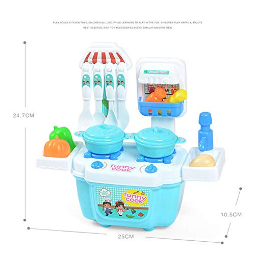 Poniu 22 Pieces Deluxe Pretend Play Food Set Beautiful Toy Mini Simulation Kitchenware Tableware Cookware Role Play (Blue) ()