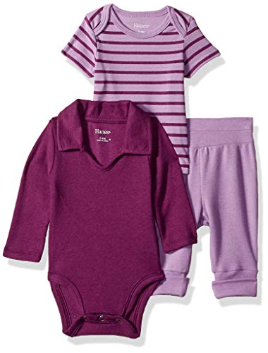 Hanes Ultimate Baby Flexy Knit Jogger with Polo Bodysuit and Short Sleeve Crew, Purple Stripe, 12-18 Months ()