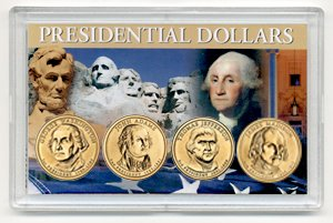 2007 P 4 Coin Uncirculated Presidential Dollars in Full Color Holders Uncirculated