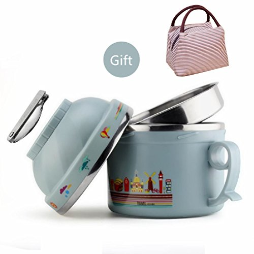 Lunch Box for Kids with Lunch Bag Stainless Steel Vacuum Bentos / Food Carrier /Food Container / Taffin Lunch Box Containers Portion Control Containers - Hold Warm for 3 Hours,1.2L,Grey Blue