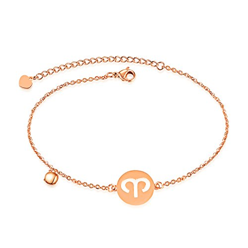 Fate Love Women 18K Rose Gold Plated Astrology Constellation Horoscope Zodiac Anklet Adjustable 210Mm