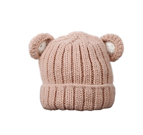Jon Senkwok Cable Knit Hats For Kids Baby Boy Girl Soft Warm Bear Animal Beanie Hat (Pink)