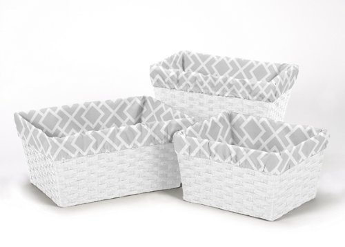 Sweet Jojo Designs 3-Piece Fits Most Basket Liners for Gray and White Diamond Bedding Sets