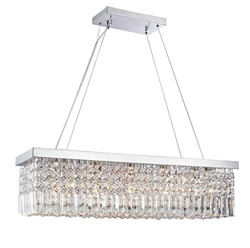 Saint Mossi Modern K9 Crystal Rectangle Raindrop Chandelier Lighting Flush Mount LED Ceiling Light Fixture Pendant Lamp for Dining Room Bathroom Bedroom Livingroom H 9in x W 10in x L 31in 5 E12 Bulbs