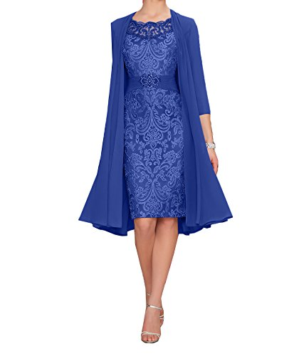 Charmant Lila Blau Chiffon Partykleider Elegant Langarm Damen Knielang mit Royal Brautmutterkleider Bolero Abendkleider qpwngqWaAr