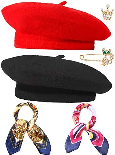 6 Piezas Boina de Lana Gorro Francés de Color Liso con Pañuelo Sedoso Broche: Amazon.es: Ropa y accesorios