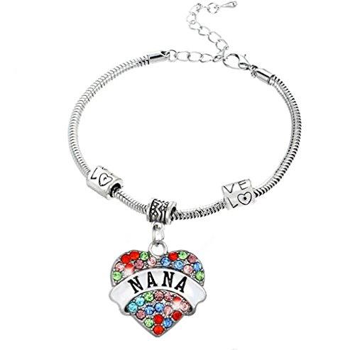 Fusicase Charm Bling Crystal Shiny Rhinestone Glitter Colorful Diamond Heart Love Carve Metal Silver Steel Chian Family Member Bracelets Gift Jewelry(Nana)