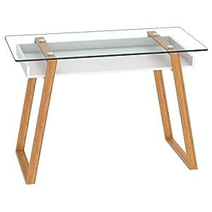 bonVIVO Table Bureau scandinave Massimo Bureau en Verre Tendance Bureau secrétaire Bois Naturel avec étagère Blanche