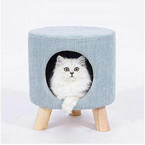 bluee B-353535CM bluee B-353535CM Pet bed- Solid Wood Bracket Triangular Structure Tripod Creative Personality Pet House Cat House One Thing with Pet Supplies Bearing 100KG (color   bluee, Size   B-35  35  35CM)