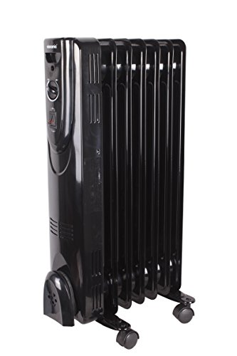 Viasonic 1500W Electric Portable Oil Filled Radiator Heater - 7 Fin - Multi-Setting - ETL Listed - Black Oil Filled Heaters Promo Power Group