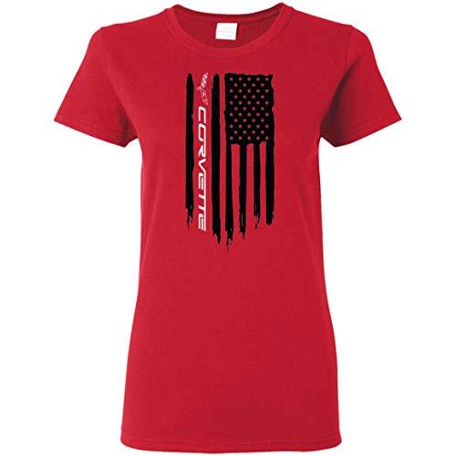 Wheel Spin Addict Chevy Corvette C1 C2 C3 C4 C5 C6 C7 American Flag Ladies' T-Shirt Red