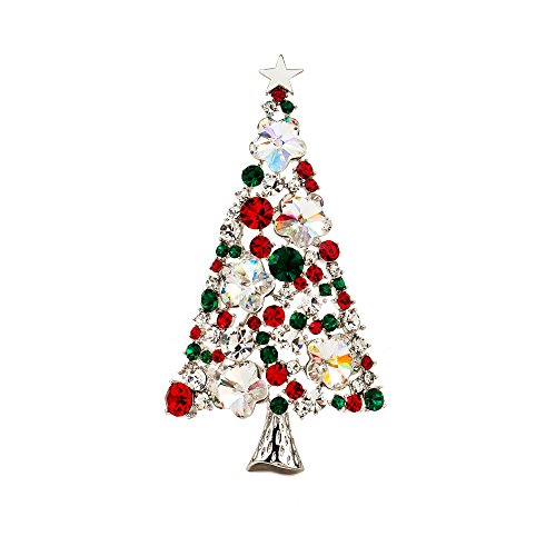 Marquise Vintage Brooch - Mwfus Unisex Vintage Tree Marquise Crystal Christmas Brooch Pin Silver Plated