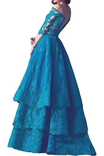 Ballkleider mia Spitze Braut Rock Linie Festlichkleider Dunkel Partykleider Abendkleider A Rot Prinzess La Formalkleider Langarm xRYnRw