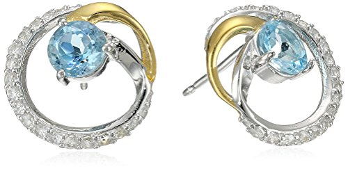 Jewellery Collection - 18K Yellow Gold Plated Sterling Silver Genuine Sky Blue Topaz and Created White Sapphire Two Tone Swirl Stud Earrings