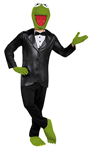 Disguise UHC Men's Kermit The Frog Outfit Deluxe Comical Theme Halloween Fancy Costume, Teen (38-40) -