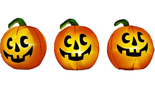 Halloween Inflatable 3 Pc. Monster Mash Musical Pumpkin Pathway Marker W/ Synchronized LED Lights]()