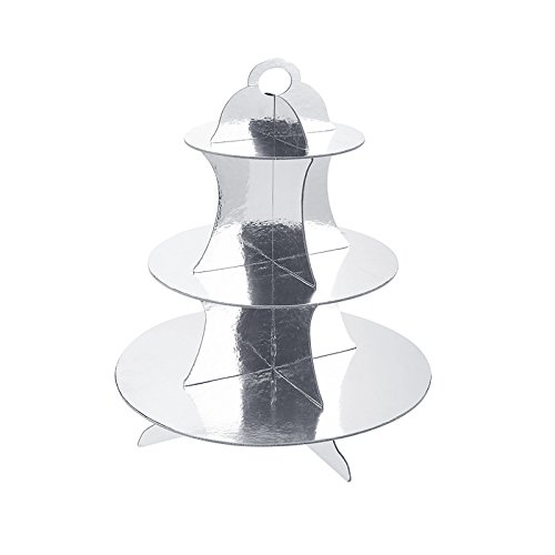 Adorox 3-Tier Sliver Round Cardboard Cupcake Stand (12