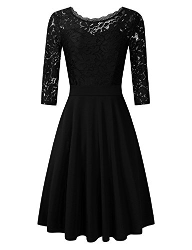GloryStar Women's Lace Dress 3/4 Sleeves Vintage Floral Wedding Prom Cocktail A-Line Swing Midi Dresses Black L ()