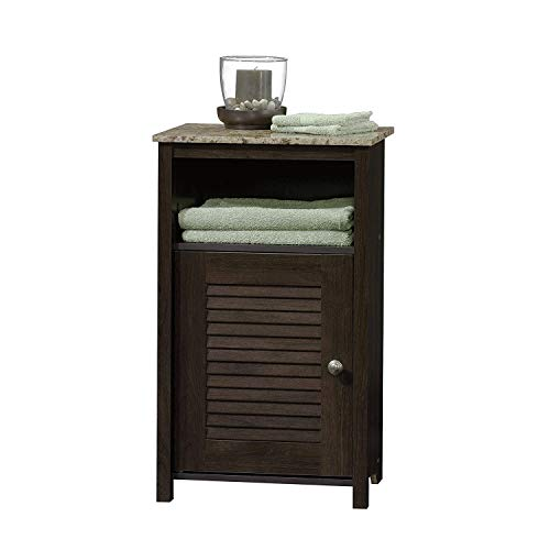 (Bathroom Floor Cabinet, Toilet Wood Stand, Storage Table with Faux Granite on Top with Drawer and Open Shelf, Freestanding Closet Hutch for Your Rest Room, Cherry by Nova Natural)