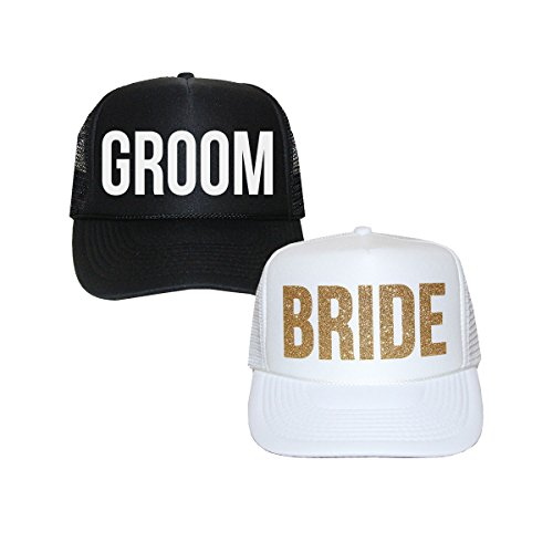 Classy Bride Bride and Groom Trucker Hats