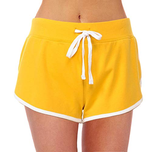 Women's Active French Terry Dolphin Hem Knit Pull-On Shorts (New Mustard White ()