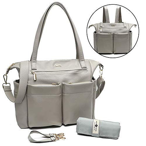 Leather Diaper Bag Backpack by Miss Fong, Baby Bag, Diaper Bag Tote with Changing Pad, in Bag Organizer, Stroller Straps, Insulated Pockets and Shoulder Strap (Grey)
