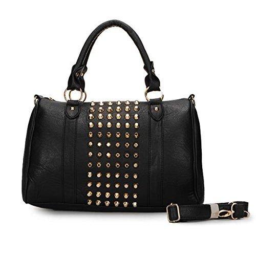 1 Of 3 Color:women Punk Style Rivets Barrel Handbag(color:black) Puntung Shop