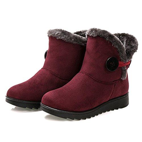 Dear Time Women Winter Warm Button Snow Boots Red