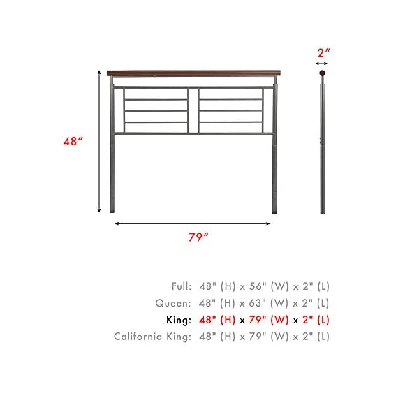 Fashion Bed Group Fontane Metal Headboard with Geometric Panel and Rounded Cherry Top Rail, Silver Finish, King