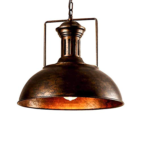 (Vintage Industrial Pendant Light - Easric Nautical Barn Farmhouse Ceiling Light with Rustic Dome Bowl Lampshade Mounted Fixture and Adjustable Chain Diameter 12.99in for Kitchen Island Coffee Shop)