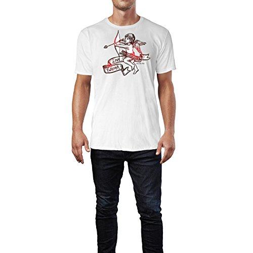 SINUS ART ® Vintage Amor mit Pfeil und Bogen Herren T-Shirts in Weiss Fun Shirt mit tollen Aufdruck