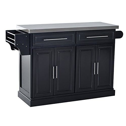 HomCom Modern Rolling Kitchen Island Storage Cart w/ Stainless Steel Top - (Black Kitchen Island)
