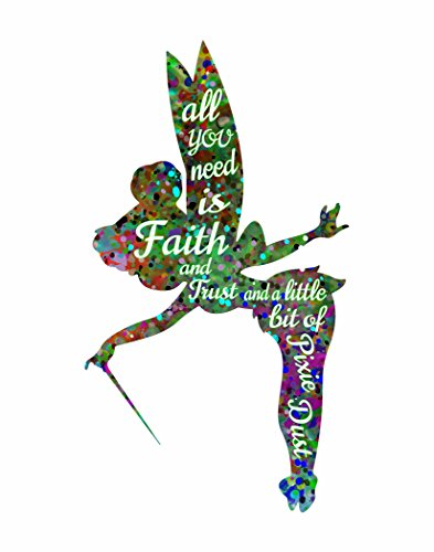 (ArtDash® Pop Art Print: Watercolor Splatter TINKERBELL w/Inspirational Quote (11