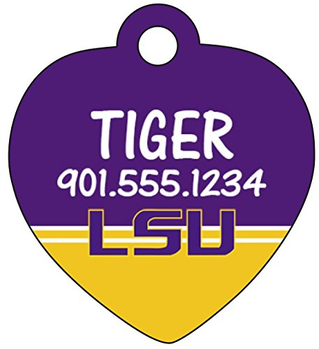 LSU Tigers Dog Tag Cat Tag Pet Id Tag Personalized w/ Name & Number