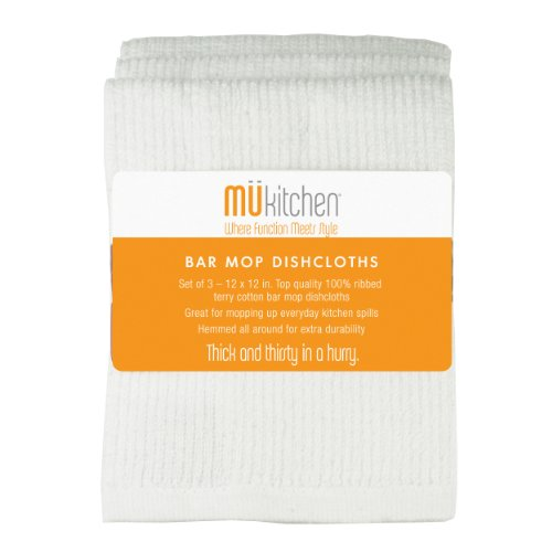 MUkitchen Cotton Bar Mop Dishcloth, 12 by 12-Inches, Set of 3, White - Bar Mop Cloths