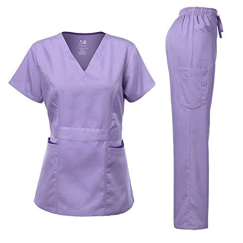 Lavender Twill Shirt - Medical Uniform Women's Scrubs Set Stretch Contrast Pocket Lavender L
