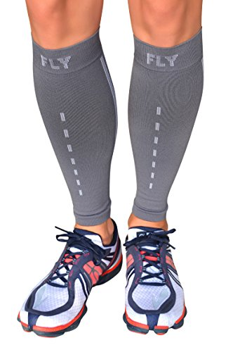 (Leg Compression Sleeve - Men and Women's - Coffee Yarn Fabric, Improves Circulation and Speeds Recovery - Perfect for Running, Cycling, Basketball, Training (Gray, Large) )